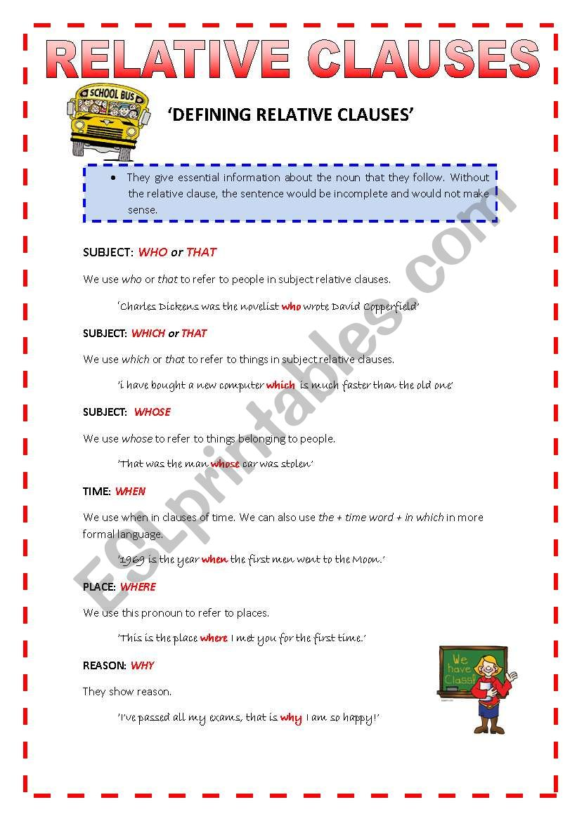 RELATIVE CLAUSES - THEORY worksheet