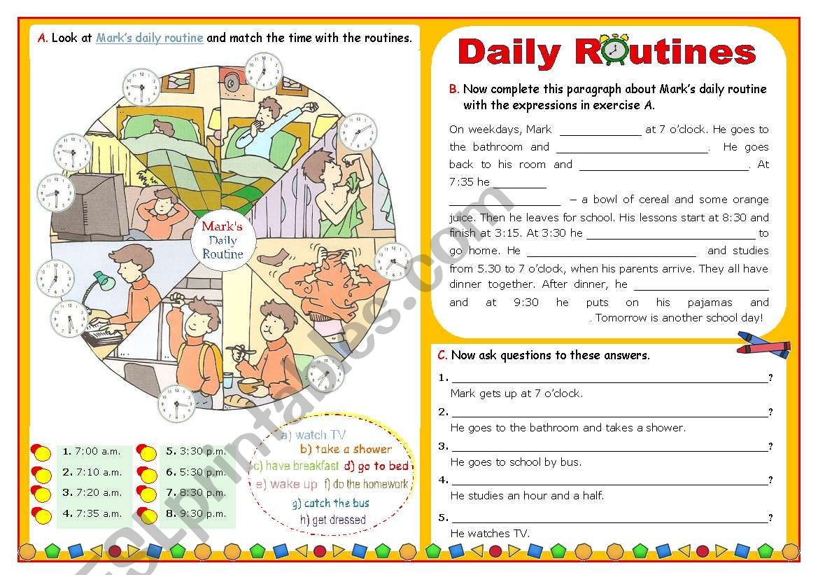 Daily Routine  -  Focus on basic vocabulary  +  Simple Present  +  Wh-questions