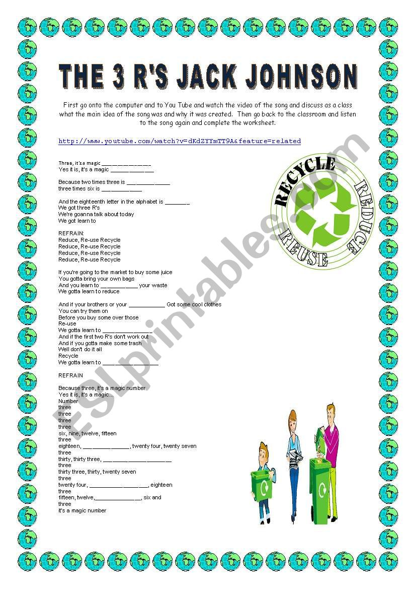 English worksheets: The 3 R´s