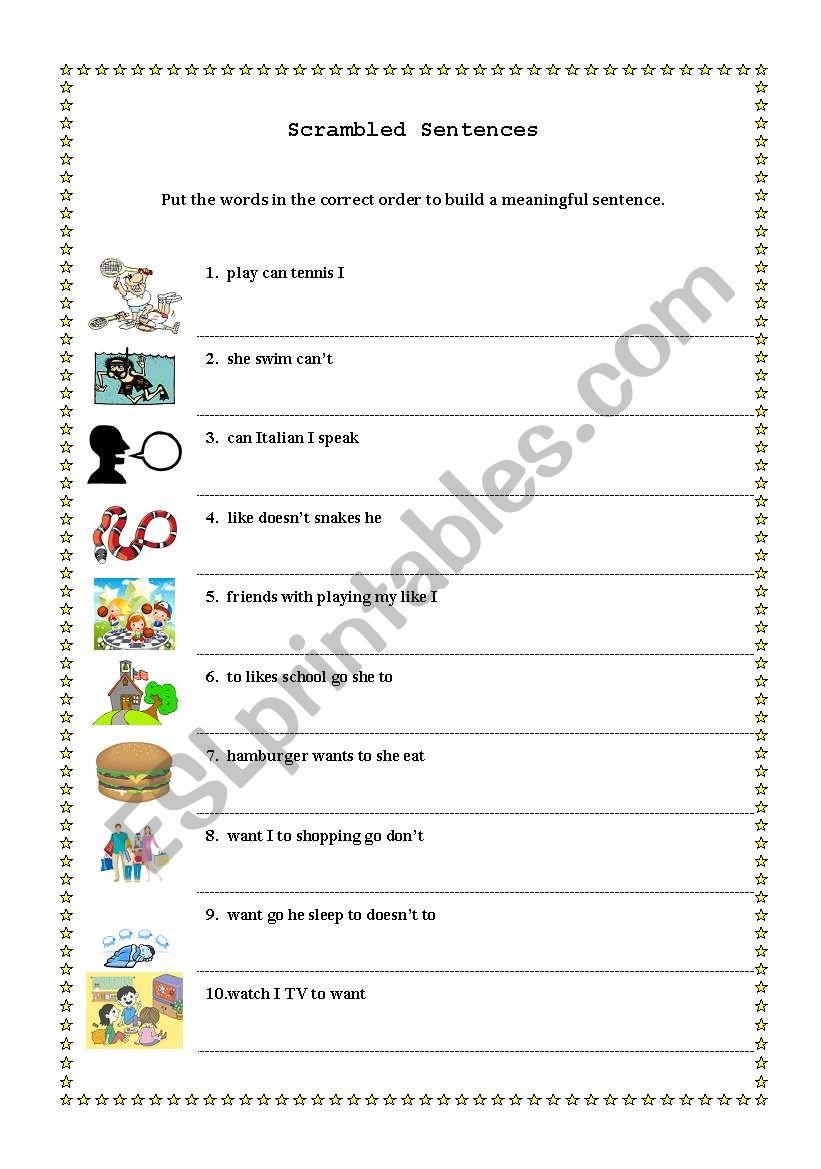 english worksheets scrambled sentences. Black Bedroom Furniture Sets. Home Design Ideas