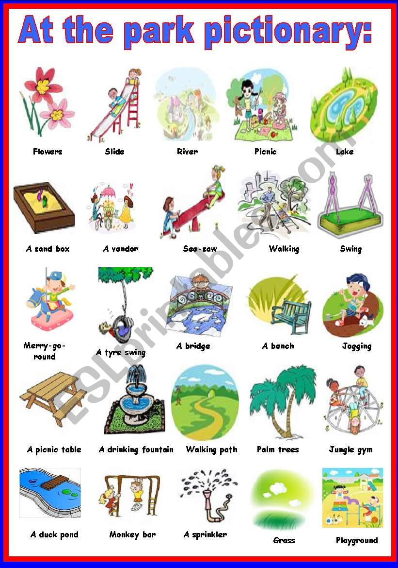 at the park pictionary  worksheet