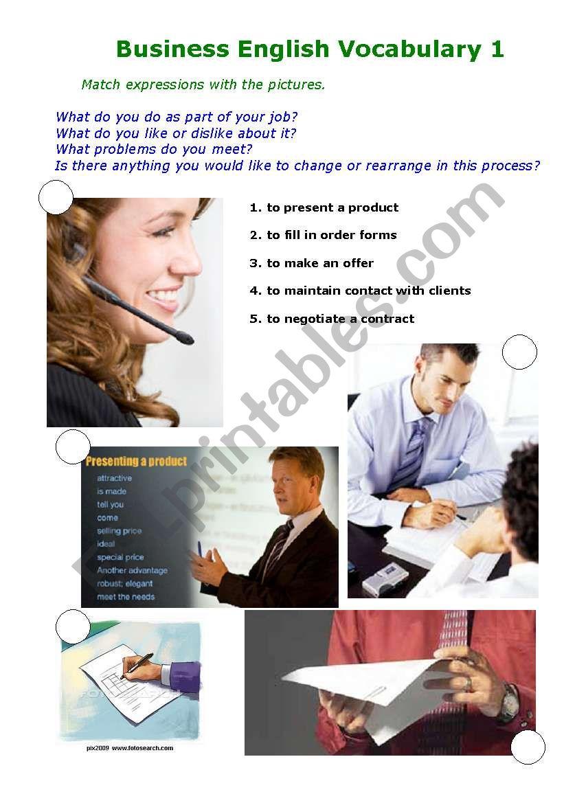 Business Vocabulary 1 worksheet