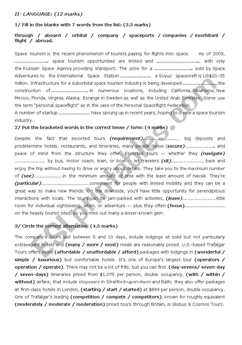 mid-term test 1 / 4th form worksheet
