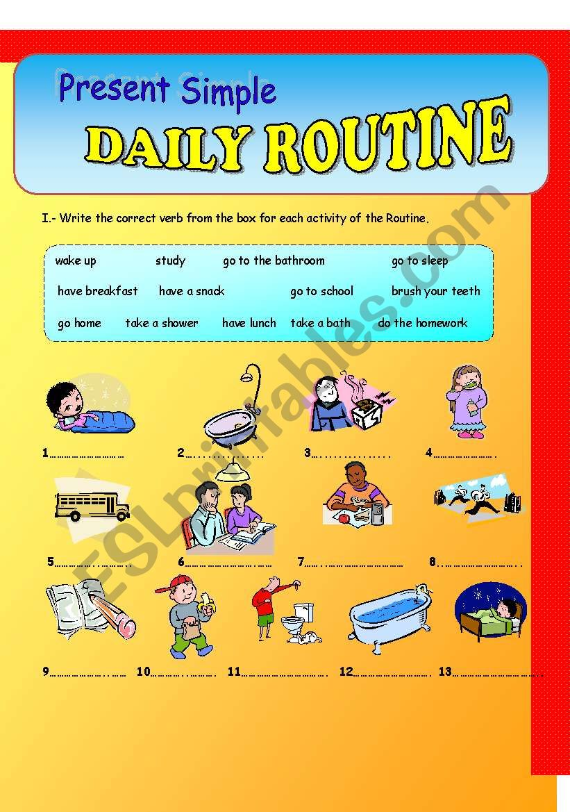 Daily Routine-Present Simple worksheet