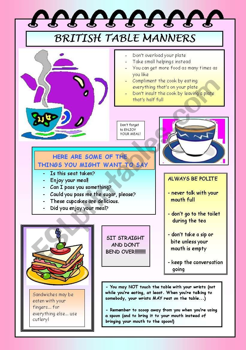 British (high tea) table manners