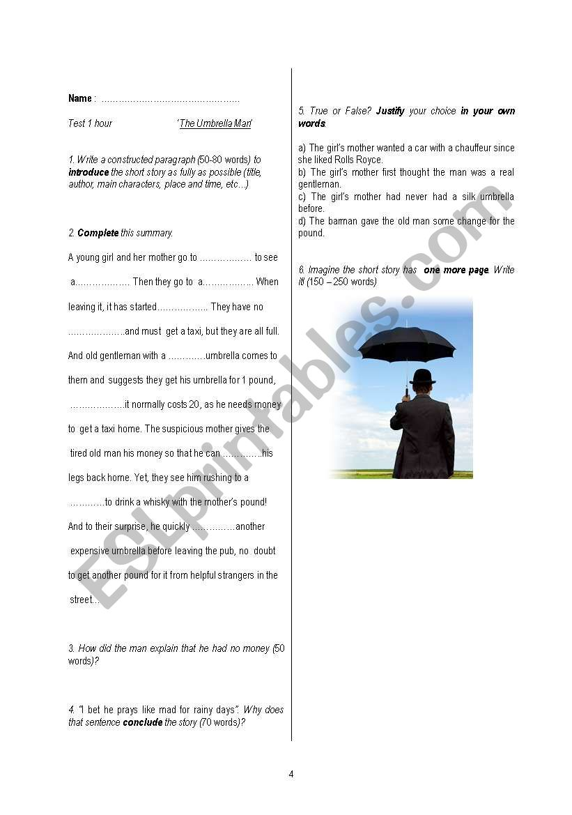 Roald Dahl´s ´The Umbrella Man´ short Story + Test - ESL