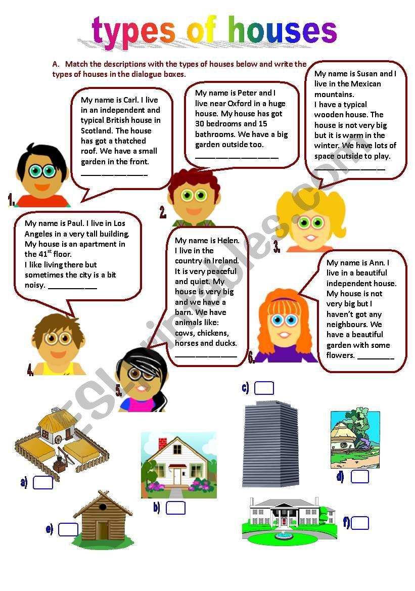 Types Of Houses 11 04 10 Esl Worksheet By Manuelanunes3