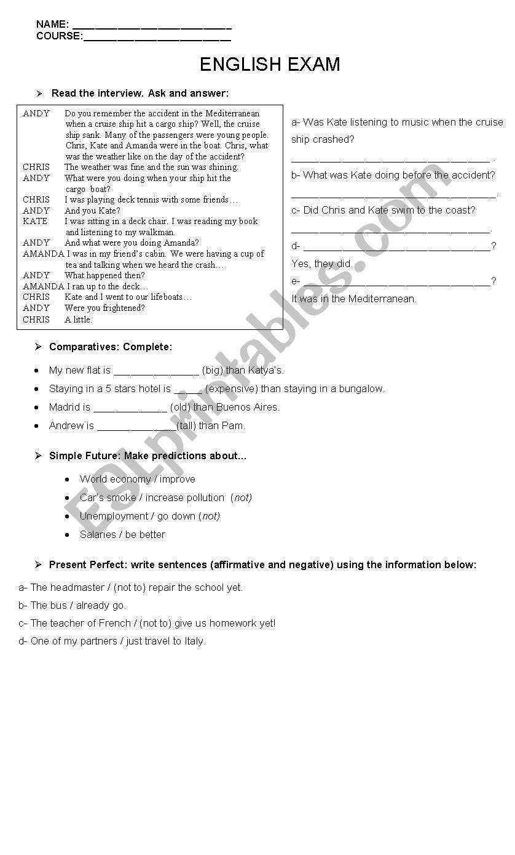 Exam on various issues worksheet