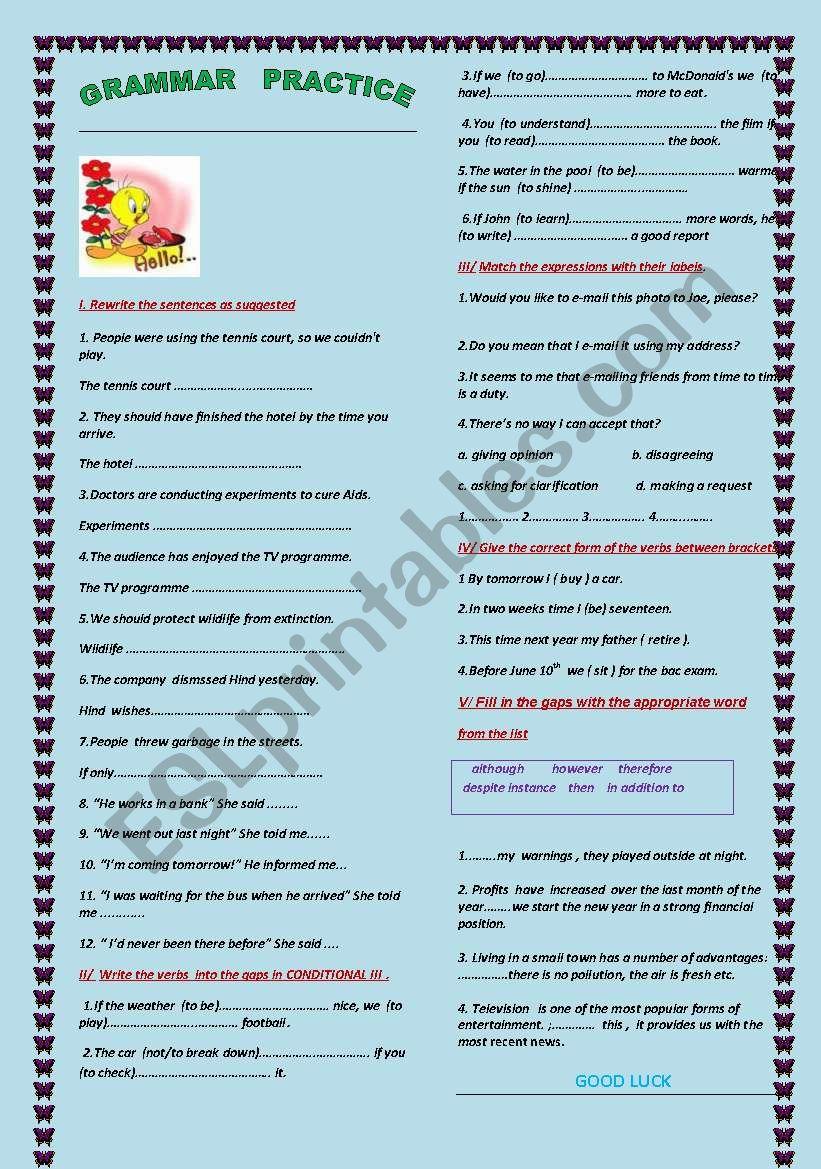 INTERMEDIATE GRAMMAR PRACTICE worksheet