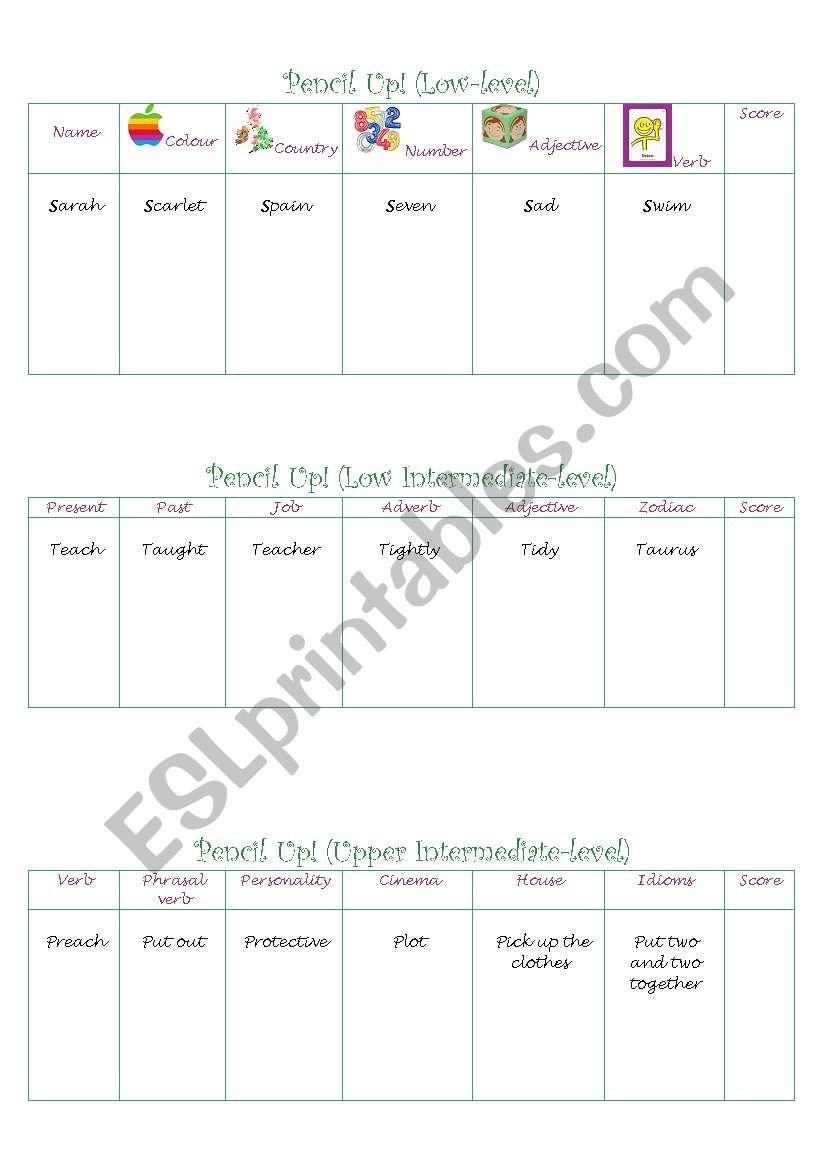 PENCIL UP worksheet