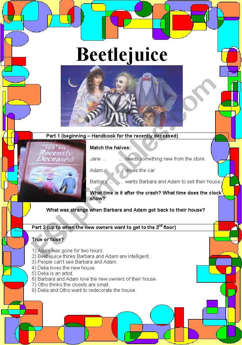Beetlejuice movie guide worksheet
