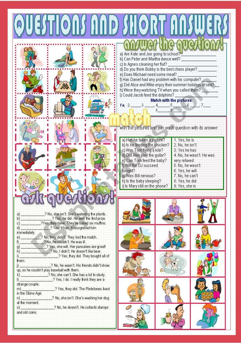 Questions and short answers worksheet