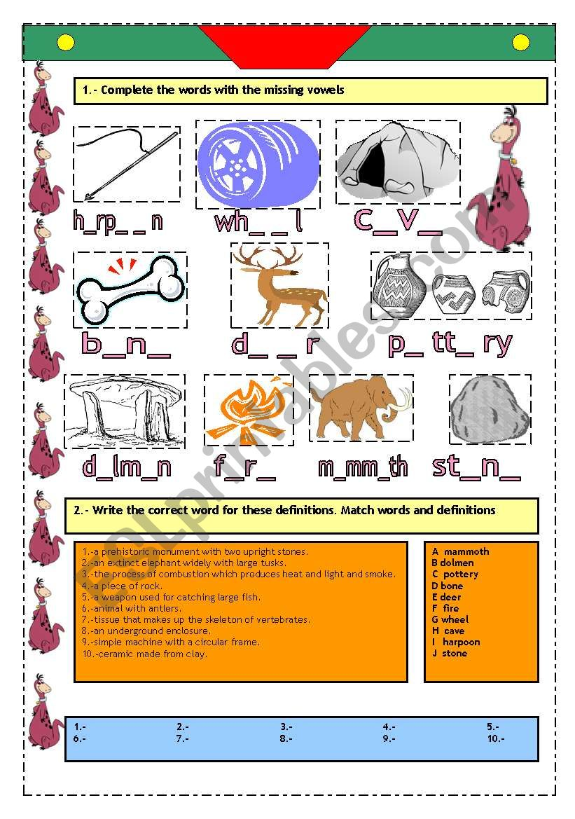 PREHISTORY: ACTIVITIES WITH KEYS. 2 PAGES!!!