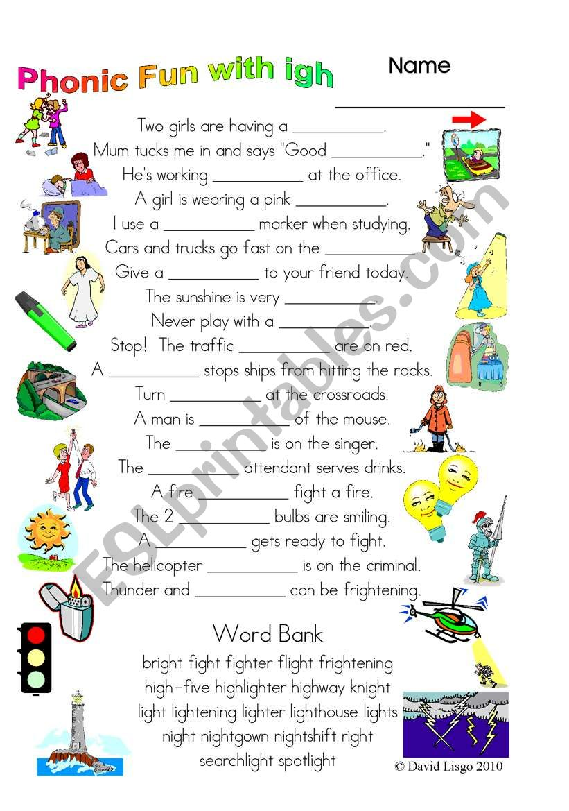 3 Magic pages of Phonic Fun with igh: worksheet, dialogue and key (#26)