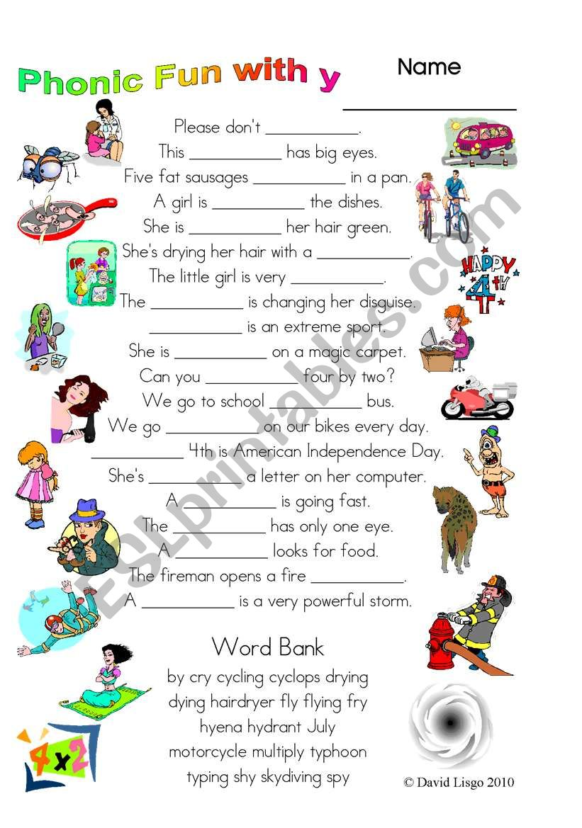 3 Magic pages of Phonic Fun with y: worksheet, dialogue and key (#27)