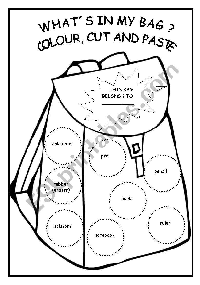 what s in my bag esl worksheet by martinasvabova. Black Bedroom Furniture Sets. Home Design Ideas