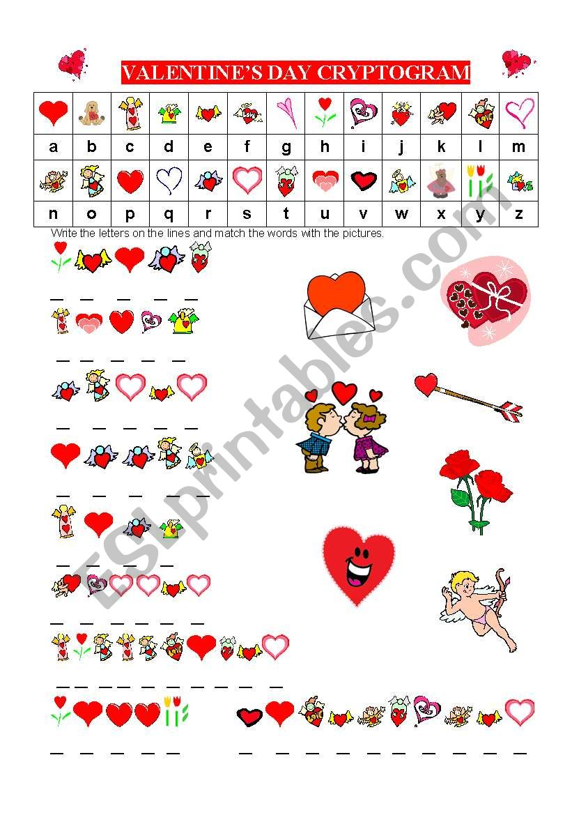 English worksheets: VALENTINES DAY CRYPTOGRAM