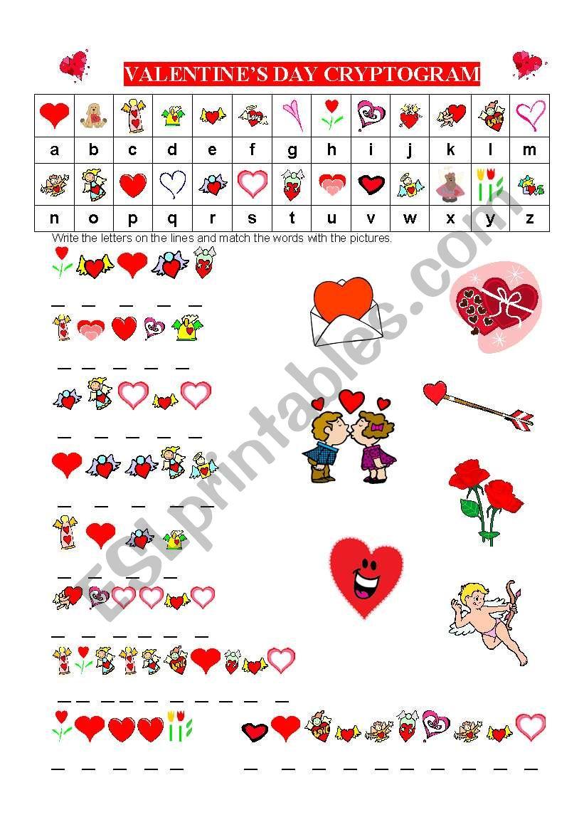 English worksheets: VALENTINES DAY CRYPTOGRAM