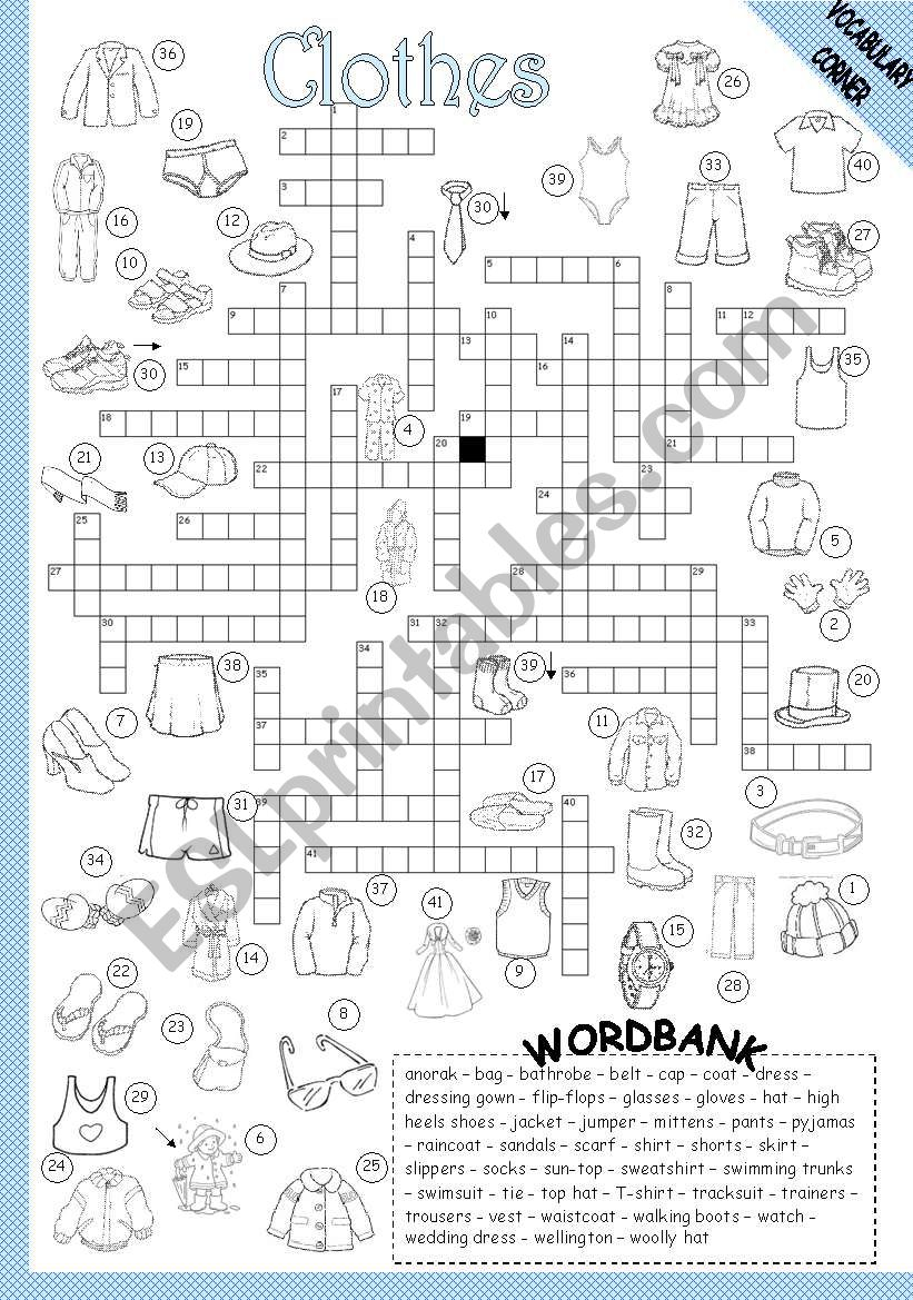 CLOTHES - CROSSWORD worksheet