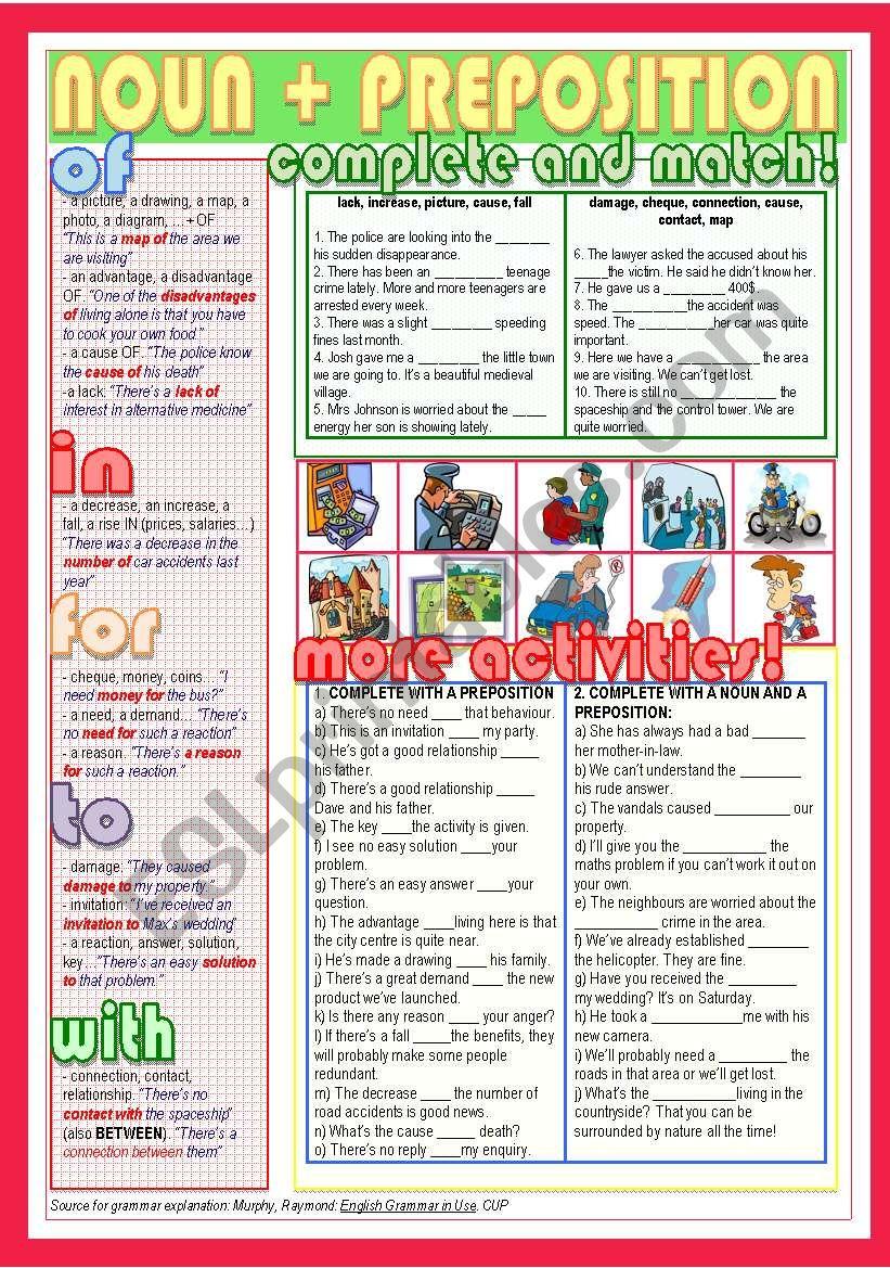noun + preposition worksheet