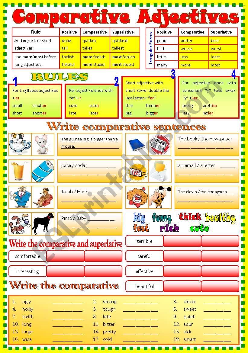 Comparative Adjective - (B/W & Keys)