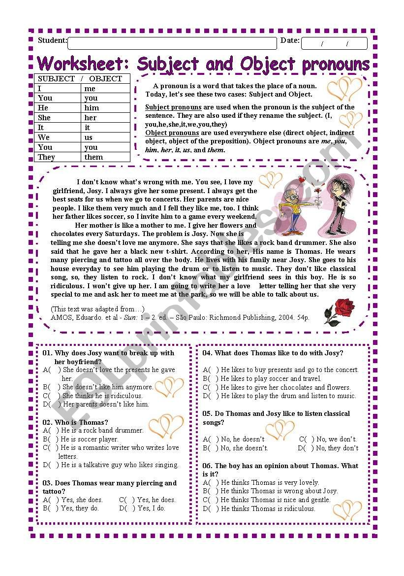 Worskheet: Subject and Object Pronouns (2 pages)
