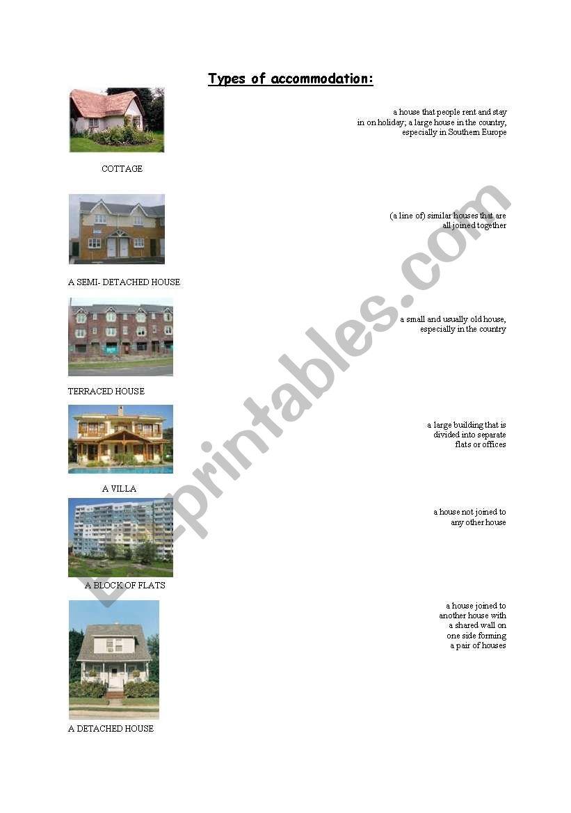Types of accommodation worksheet