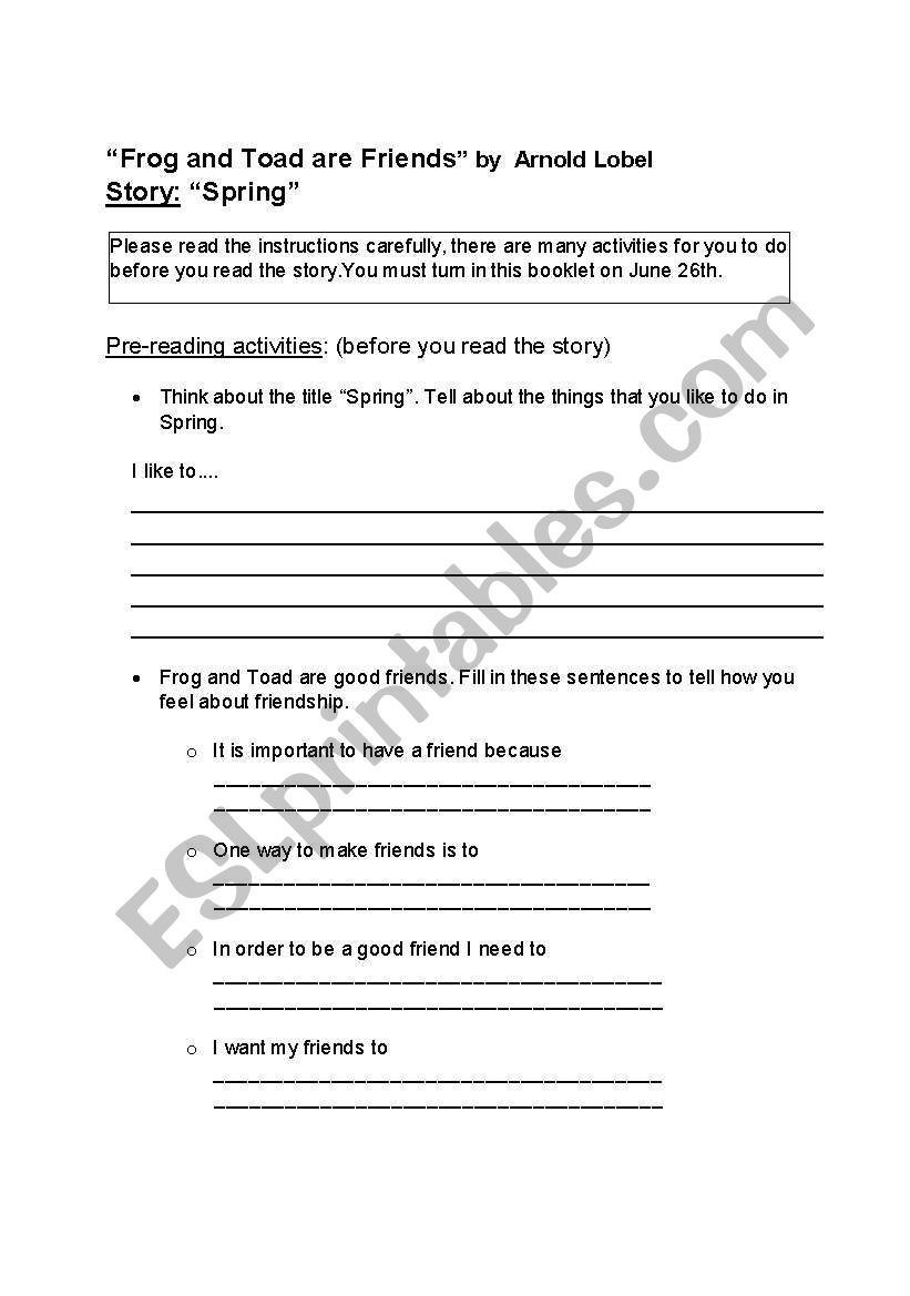 graphic about Frog and Toad Are Friends Printable Activities named frog and toad are mates language booklet - ESL worksheet