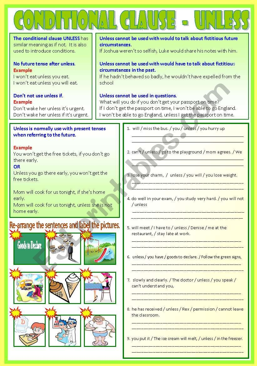 Conditional Clause - Unless   (B/W & Answers)