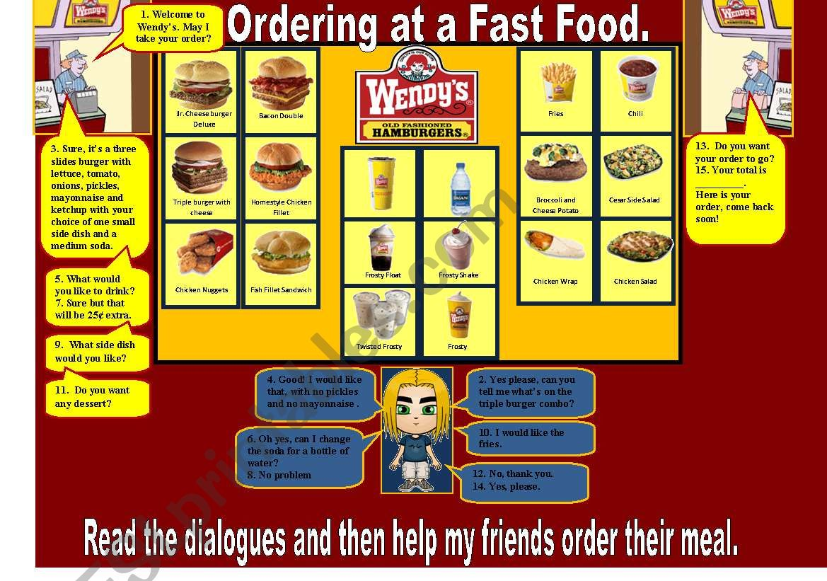 Ordering at a fast food worksheet