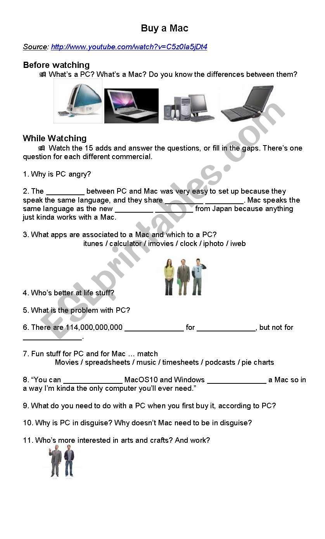 Buy a Mac (Mac versus PC) worksheet