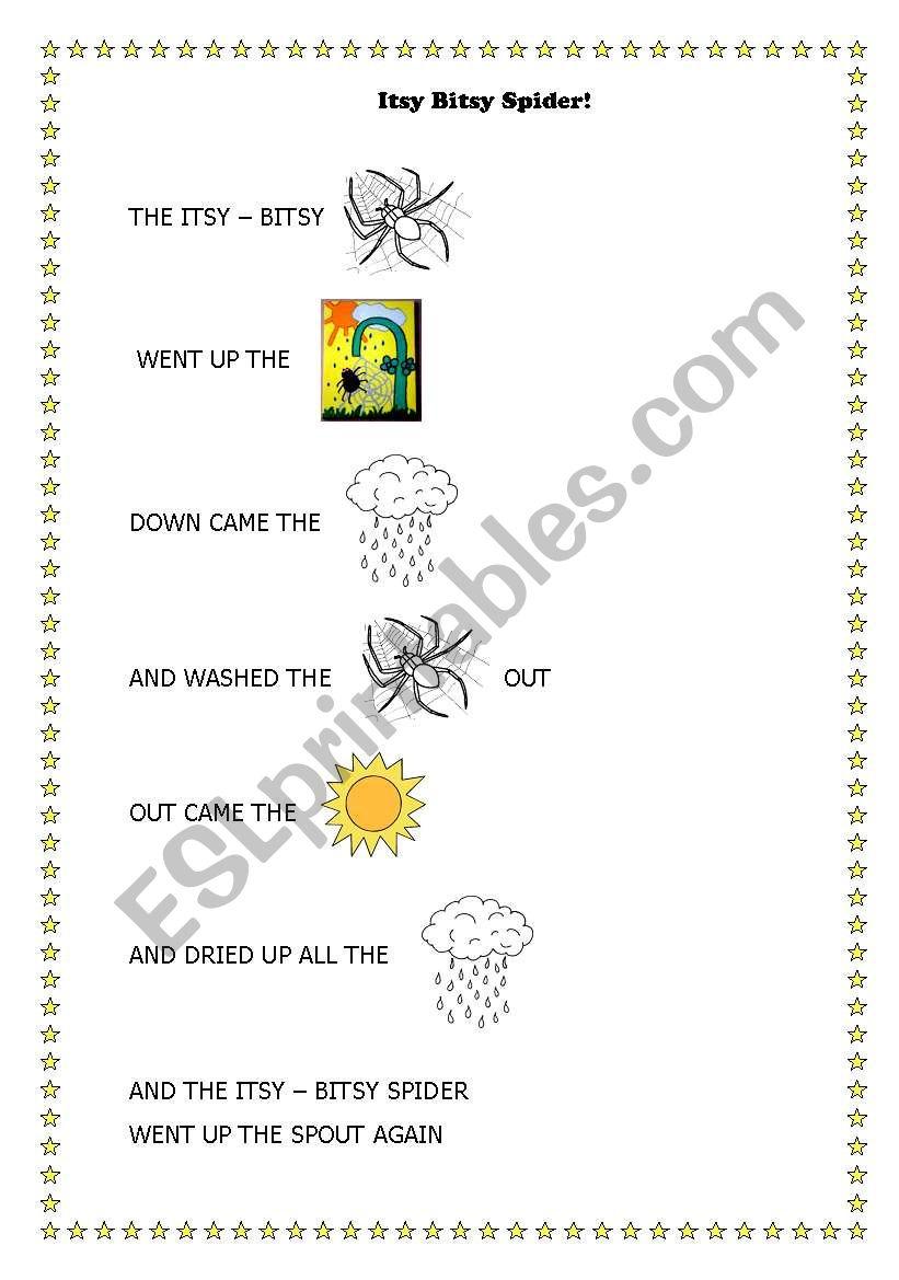 Itsy Bitsy spider song worksheet