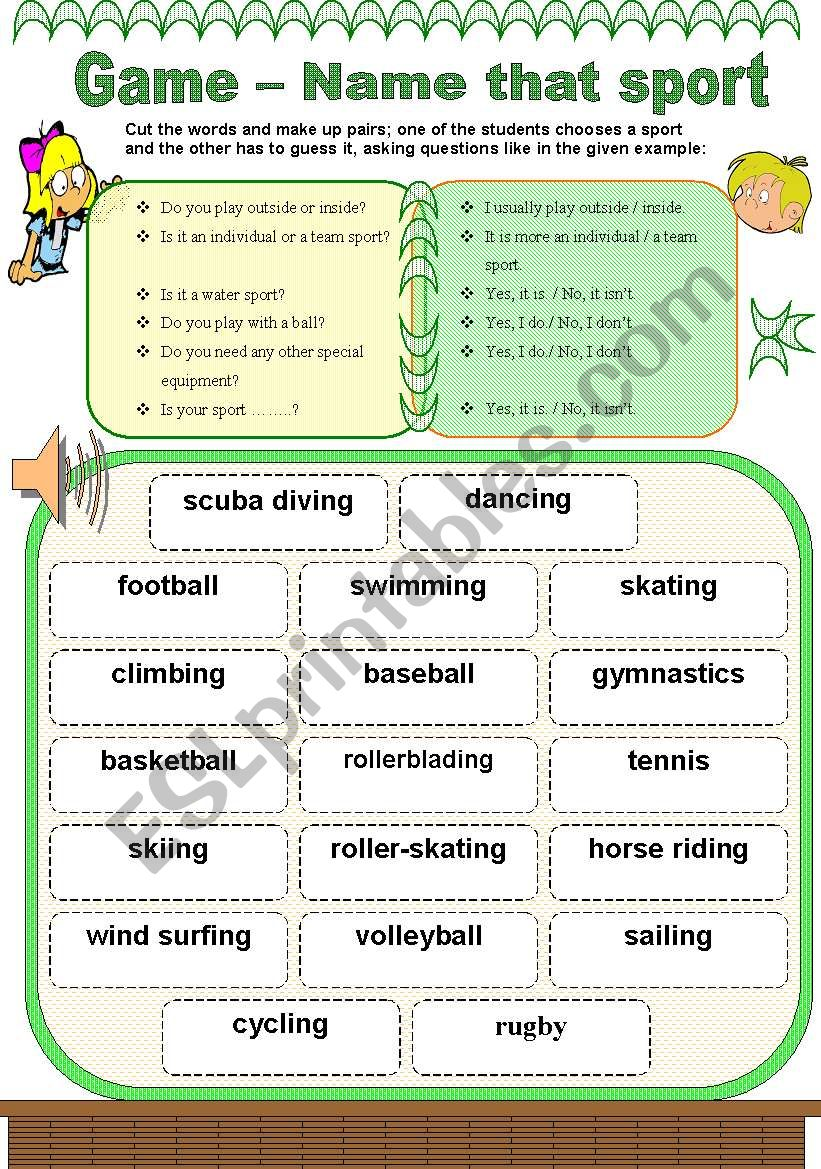 Name that sport - game 3/3 worksheet