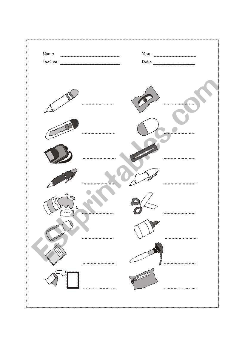 School Supplies - School Objects - ESL worksheet by Wariosen