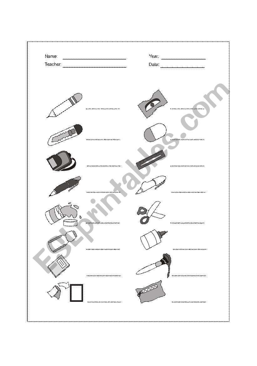 school supplies - school objects