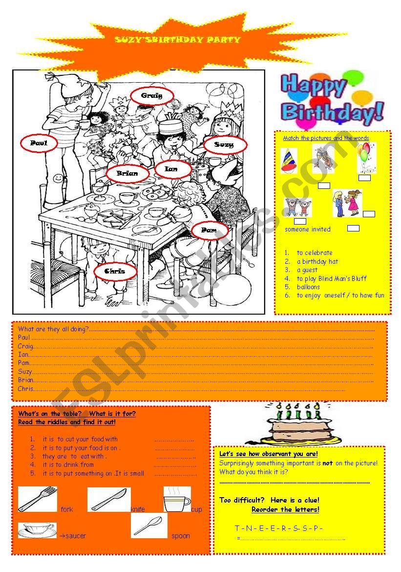 Suzy´s birthday party worksheet
