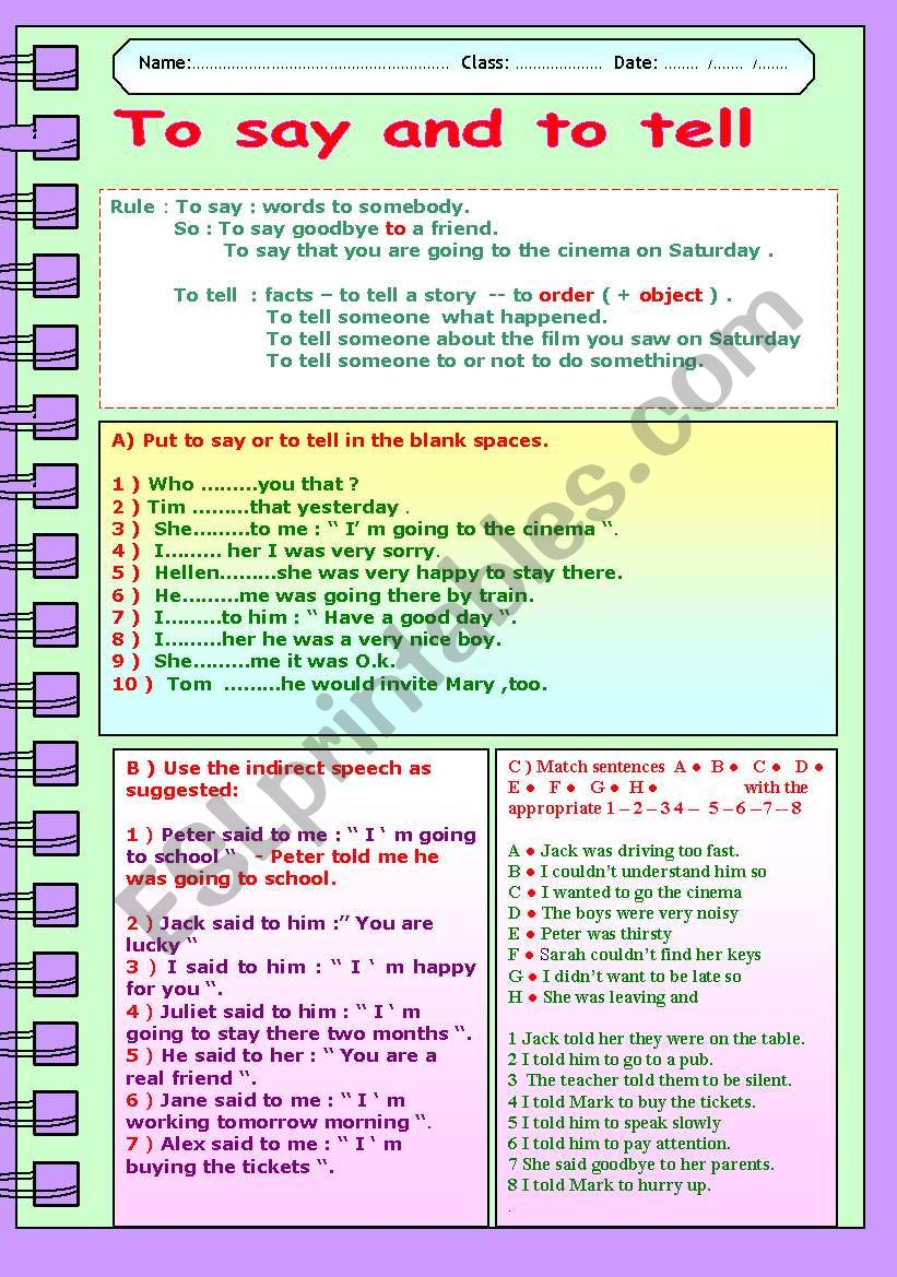 TO SAY AND TO TELL worksheet