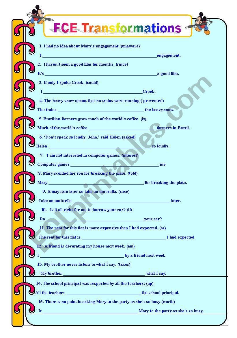 FCE Transformations worksheet