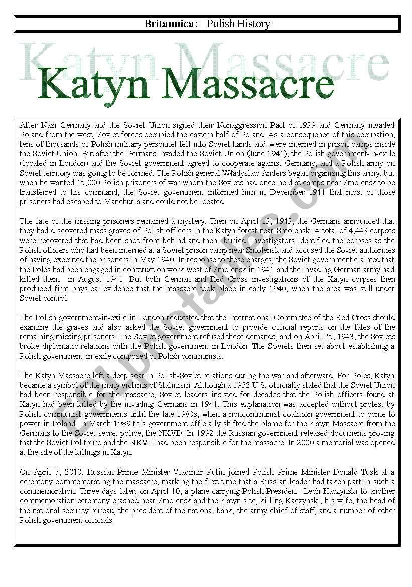 Katyn Massacre worksheet