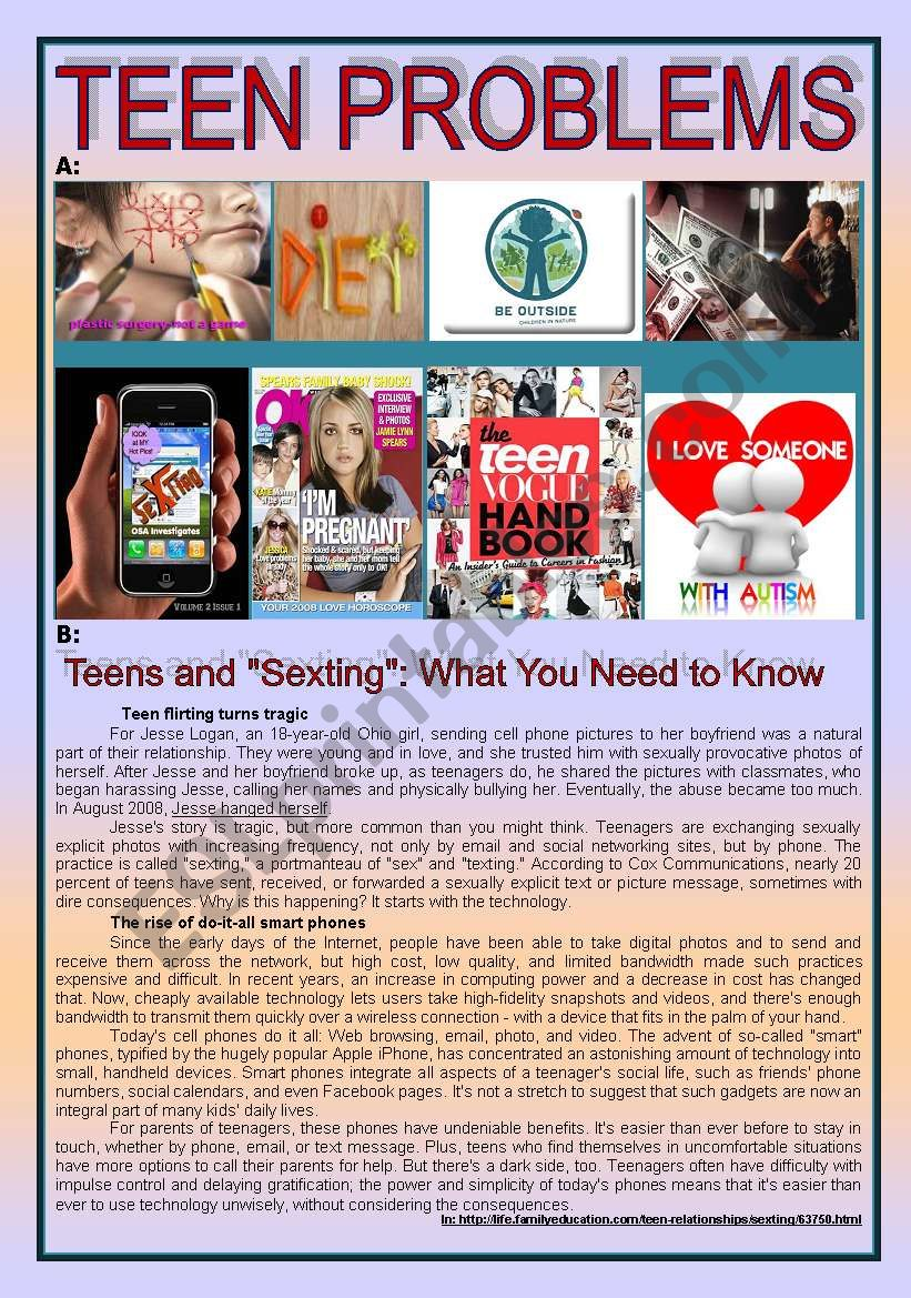 Teen Problems: SEXTING worksheet