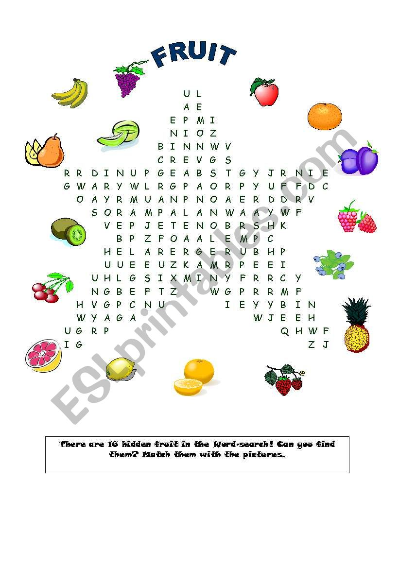 Fruit Word-search! worksheet