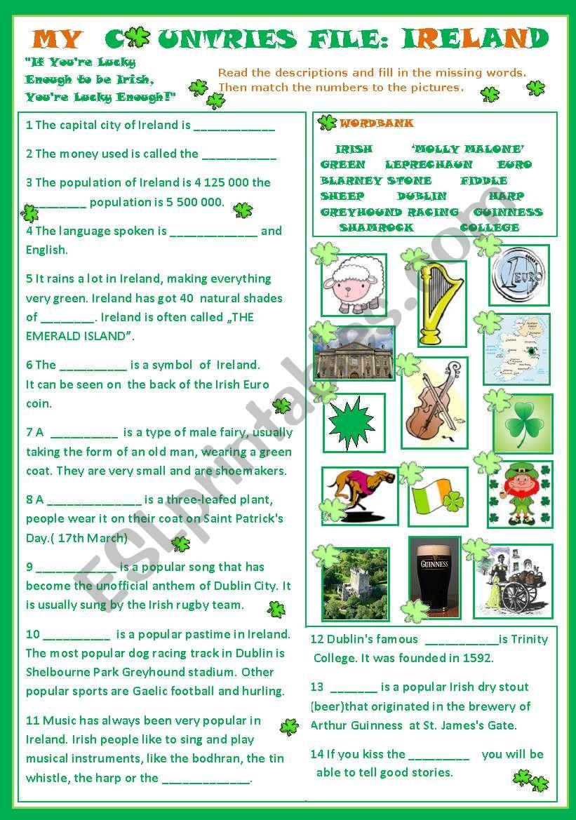 My Countries File: Ireland worksheet