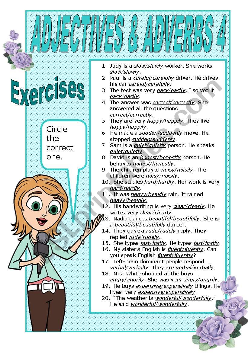 ADJECTIVES AND ADVERBS   4 -    EXERCISES