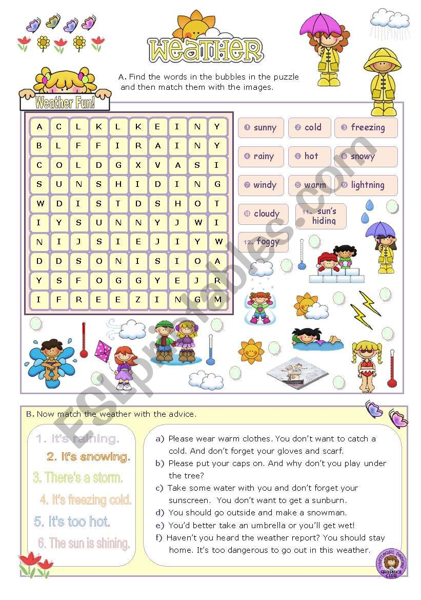 Weather Fun Activities for Elementary and Lower intermediate Stds.