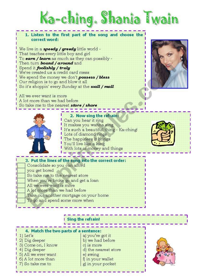 Song! Ka-ching (Shania Twain) worksheet