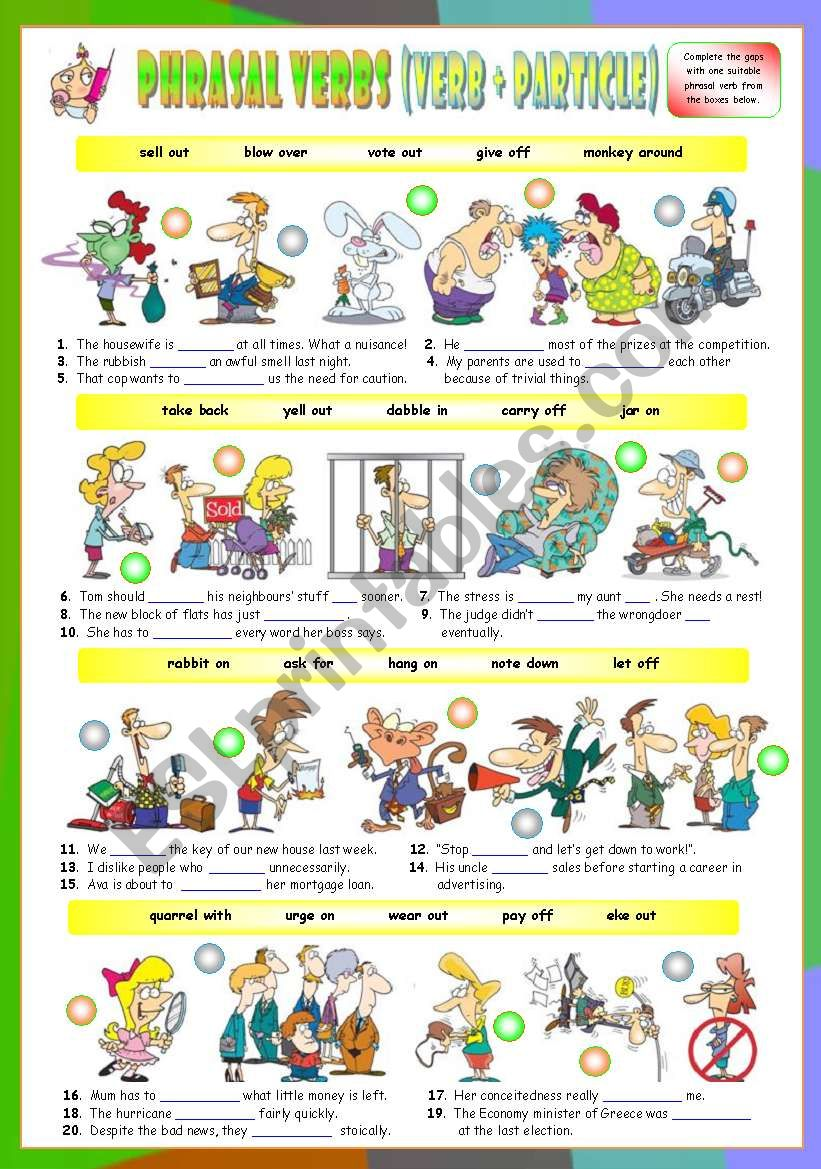 Phrasal Verbs (Twelfth series). Exercises (Part 2/3). Key included!!!