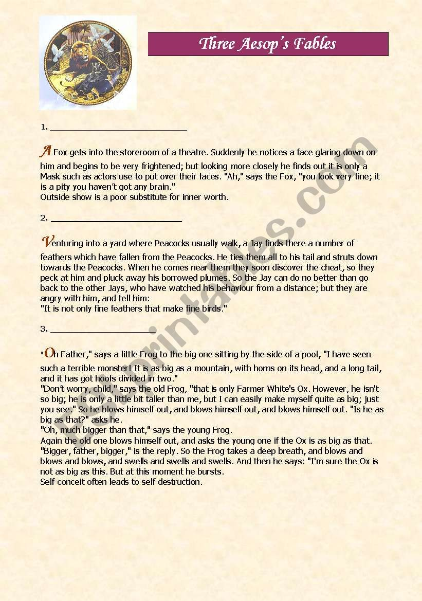 Three Aesop´s Fables worksheet