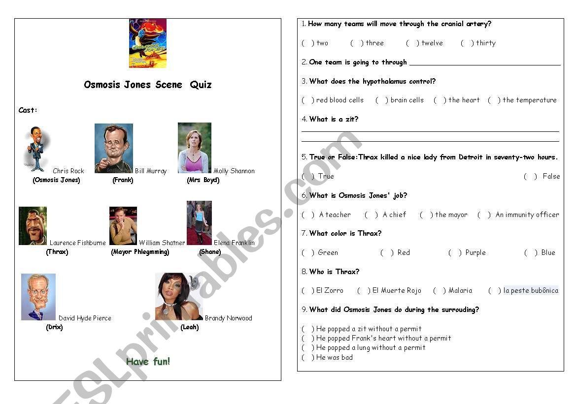 English worksheets: Osmosis Jones Scene 23 Quiz For Osmosis Jones Movie Worksheet