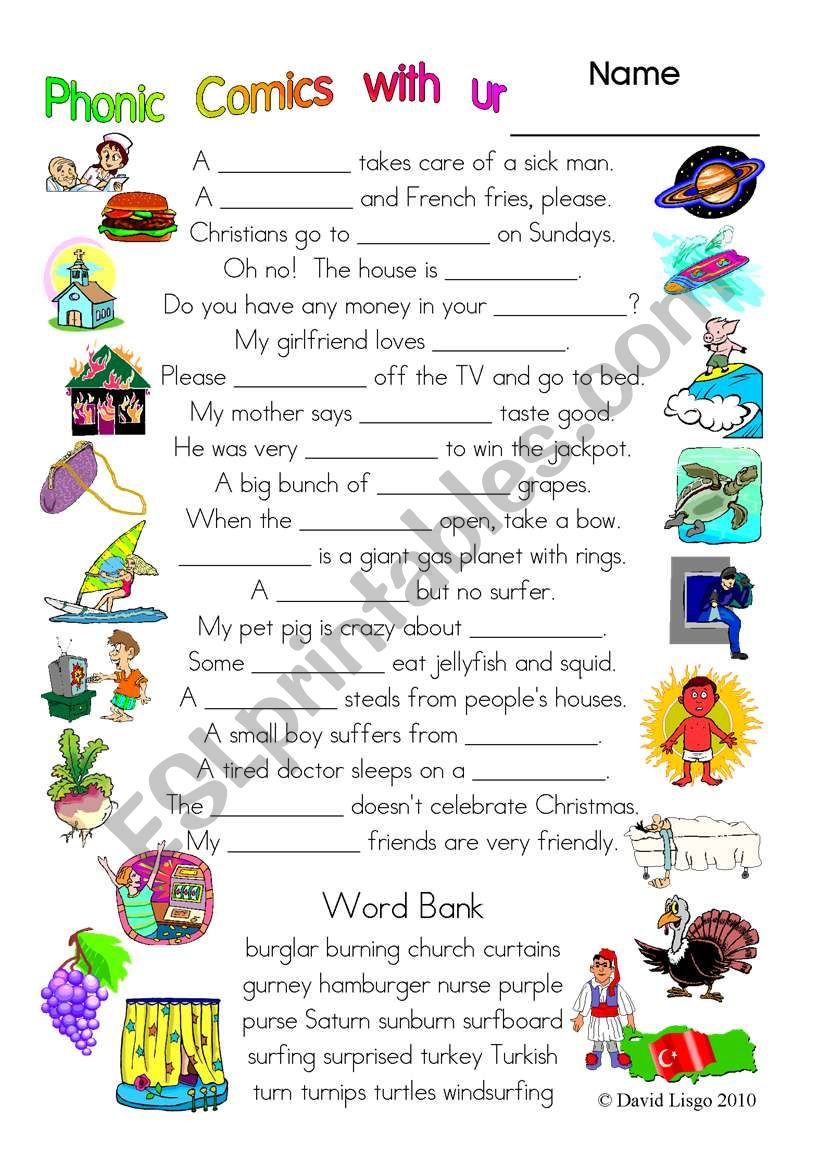 3 pages of Phonic Comics with ur: worksheet, comic dialogue and key (#29)