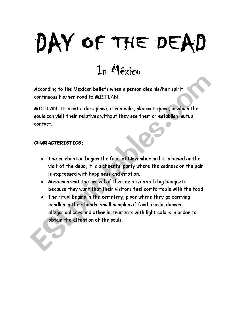 worksheet Day Of The Dead Worksheets english worksheets day of the dead worksheet